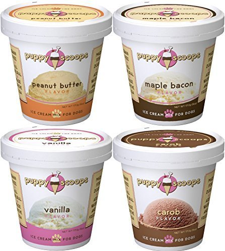 Puppy Ice Cream - Puppy Scoops Dog Ice Cream Mix For Dogs by Variety 4 Pack (4 Pints of Ice Cream for Dogs) Fast Free Delivery. by Just Jak's Pet Market