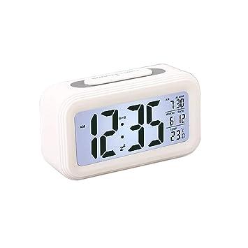 Maomaoyu Nueva Versión Despertador Digital, LCD Reloj Despertador con Pantalla de Fecha y Temperatura Función Despertador, Función Snooze y Luz ...