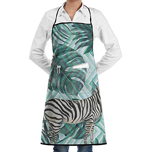 LOGENLIKE Zebra And Tropical Plant Kitchen Aprons, Adjustable Classic Barbecue Apron Baker Restaurant Black Bib Apron With Pockets For Men And Women