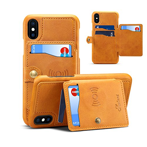 iPhone X Wallet Case with Four Credit Card Slots, Not hindering Wireless Charging, PU Leather Purse Case