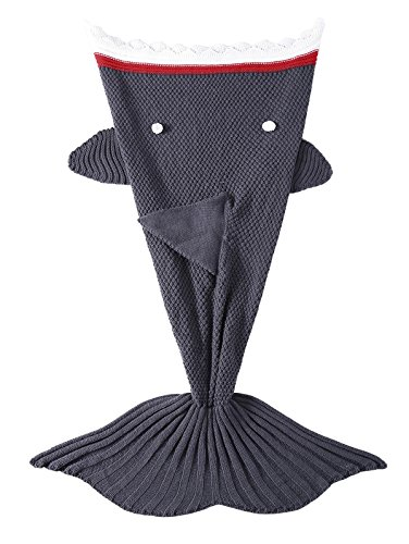 TiaoBug Handcrafted Knitted Crochet Mermaid Tail Blanket for Teen Adults,Living Room Bedroom Sofa Sleeping Bag Kids Shark Grey One Size (Kids Snuggle Bag)