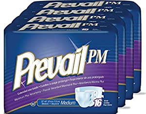 Prevail PM Extended Use Adult Briefs, Medium, 16 Count