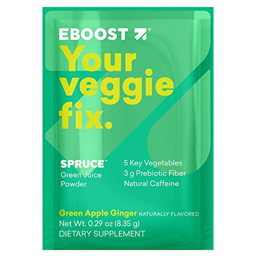 EBOOST Spruce Green Juice Powder, Green Apple Ginger Flavor | Healthy, On-The-Go Veggie Packets Full of Natural Energy (14 Count)