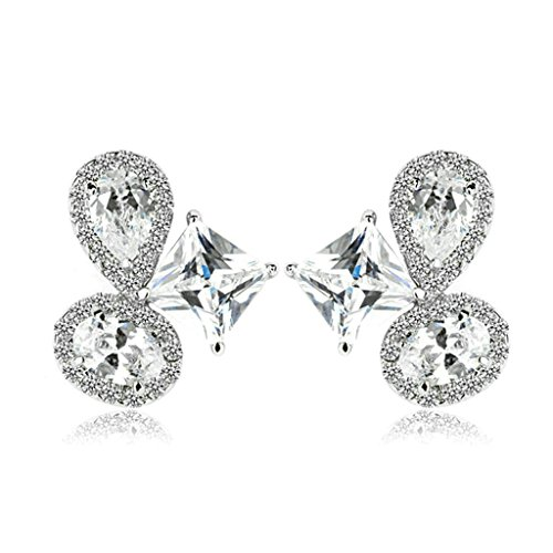 Bishilin Gold Plated Earring Womens Drop Earring 4 Prong White Zirconia Princess TearDrop Earring