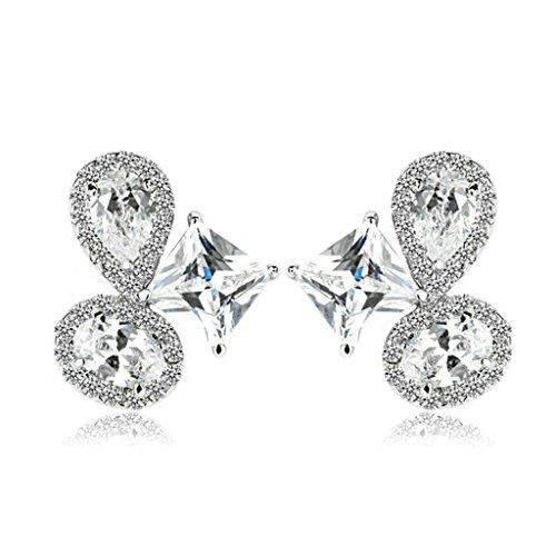 Bishilin Gold Plated Earring Womens Drop Earring 4 Prong White Zirconia Princess TearDrop Earring ()