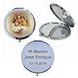 Guardian Angel (12 PCS) Personalized Laser Engraving Mi Bautzio, Baptism, Christening Double Mirror Compact Favors GG054BA
