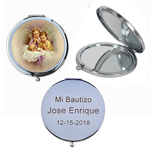 Custom Etched Mirrors - Guardian Angel (12 PCS) Personalized Laser Engraving Mi Bautzio, Baptism, Christening Double Mirror Compact Favors GG054BA
