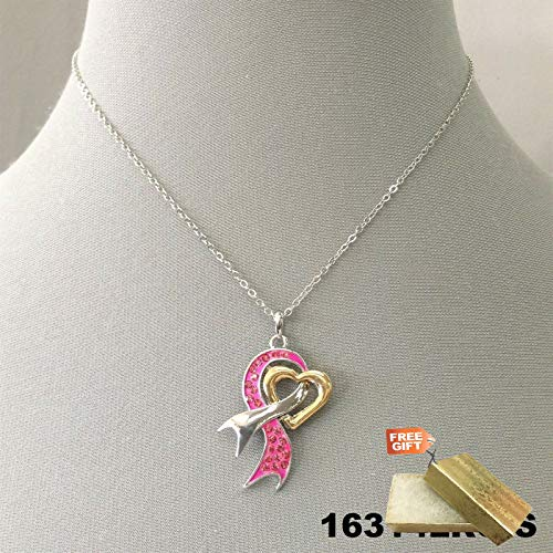 Breast Cancer Awareness Pink Ribbon Rhinestone Charm Silver Tone Dainty Necklace Set For Women + Gold Cotton Filled Gift Box for Free
