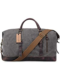 Jack&Chris® Oversized Canvas Leather Trim Travel Tote Duffel shoulder handbag Weekend Bag CB1004 (Grey)