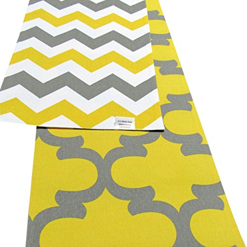 Crabtree Collection Patterned Double Sided Reversible Table Runner – The (12 x 90, Yellow & Gray – Chevron/Trellis)