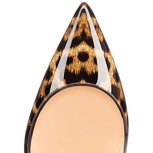 Guoar - Cerrado Mujer Leoparden-Spots Lack