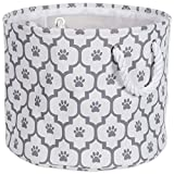 "DII Bone Dry Small Round Pet Toy Accessory Storage Bin, 12""(Dia) x 9""(H), Collapsible Organizer Storage Basket Home Decor, Pet Toy, Blankets, Leashes Food-Gray Lattiec Paw Print"