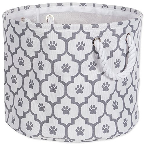 Bone Dry DII Medium Round Pet Toy and Accessory Storage Bin, 15 x 12(H), Collapsible Organizer Storage Basket for Home Dcor, Pet Toy, Blankets, Leashes and Food-Gray Lattice Paw Print