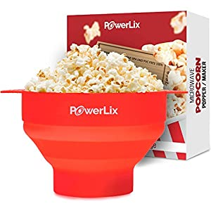 PowerLix Microwave Popcorn Popper, Collapsible Silicone Bowl, Hot Air Popcorn Maker, Healthy Machine No Oil Needed, BPA PVC Free With Lid AND Convenient Handles (Red)