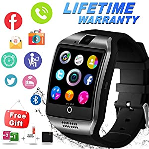 Bluetooth Smart Watch with Camera Sim Card Slot Touch Screen Smartwatch Unlocked Cell Phone Watch Sports Smart Wrist Watch for Android Phones Samsung Sony iOS (Q-Black)