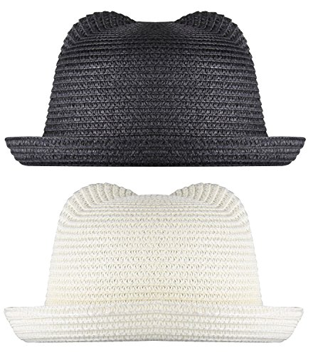 WDSKY Girls Fedora Hat Fedora White Black Straw Hat Black and White 2 Pcs