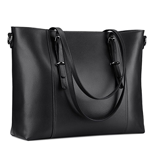 S-ZONE 15.6 inch Leather Laptop Tote Bag for Women Large Work Handbag Computer Shoulder Purse (Black)