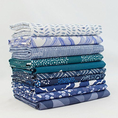 Blue Fq Quilting Fabric - Dark Blue Fat Quarter Bundle (DK.BL.10FQ) by Mixed Designers for Southern Fabric