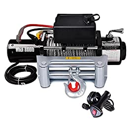 Yescom Electric Recovery Winch 8000 lbs 5.5HP 12V Handheld Remote Switch Truck Trailer ATV SUV Jeep Towing Mount