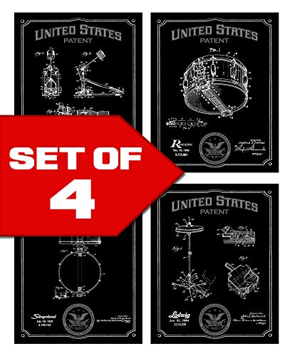 Wallables Black Drums Patents Decor Set of Four 8x10 Vintage Drum Themed Decorative Prints, Great for Music Studio, Bachelor pad, Office, Living Room.