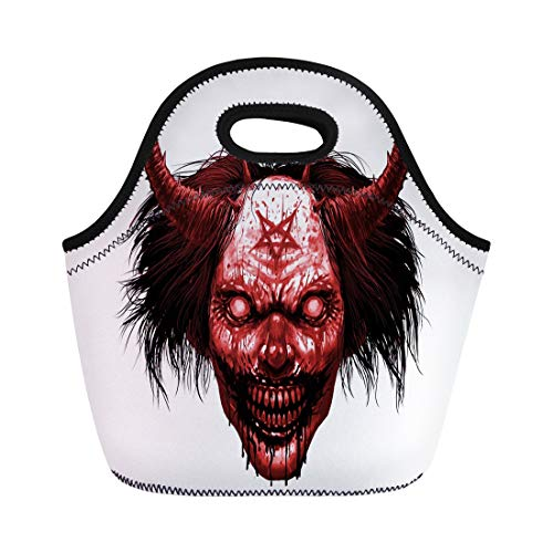 Semtomn Lunch Bags Red Face Hell Evil Smiling Clown Makeup Long Hair Neoprene Lunch Bag Lunchbox Tote Bag Portable Picnic Bag Cooler Bag ()
