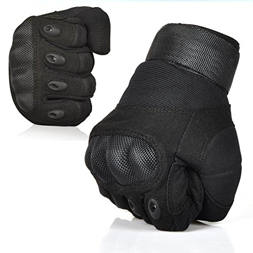 Outdoor Sport Military Army Tactical Hard Knuckle Full Finger Gloves Breathable Paintball CS War Game Airsoft Combat Gear Gloves Reinforced Hunting Riding Cycling Shooting Motorcycle Gloves Black Large