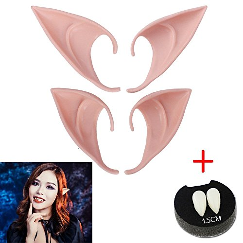 Kalolary Cosplay 2 Pairs Fairy Pixie Elf Ears, Fairy Goblin Ears Accessories, Tips Ear with Vampire False Teeth for Halloween Party Cosplay Props Party Favors Decoration