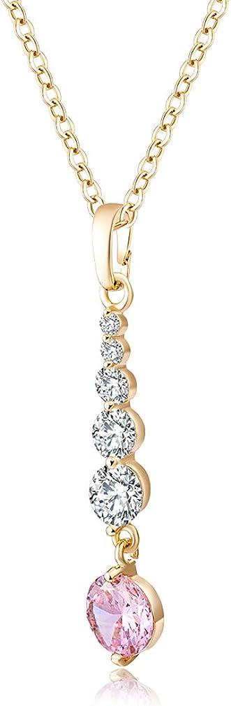 Yazilind Bijoux en Or 18 carats plaqu/¨/¦ Or Six Collier de Pendants de Zircon pour Mariage de Partie