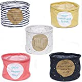 EORTA 5 Pack Cotton Linen Storage Bins Foldable Round Desk Storage Box/Basket/Bags Home Organization Container for Office, Bedroom, Closet, Toys, Socks, Laundry, Multicolor