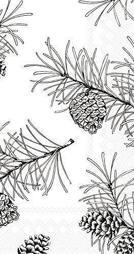 "Boston International BF743897 IHR Guest Towel Buffet Paper Napkins, 8.5"" X 4.5"", Pine Branches Black On White"