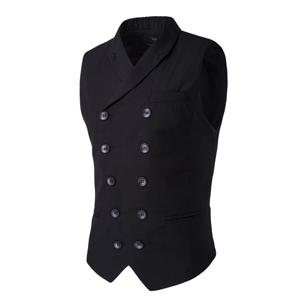 MAGE MALE Men's Suit Vest Designer Solid V-neck Double Breasted Lapel Slim Fit Business Dress Waistcoat