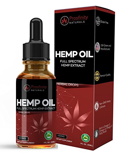 Full Spectrum Hemp Oil Extract for Pain Relief and Anti Anxiety Support - All Natural Ingredients Promotes Relaxation, Healthy Sleep and Weight. Mint Flavored Drops.