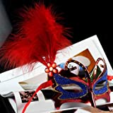 Mask Costume Feather Eye Mask Masquerade Ball Fancy Dress Butterfly Face Mask (Free Shipping) J1944# (Red)