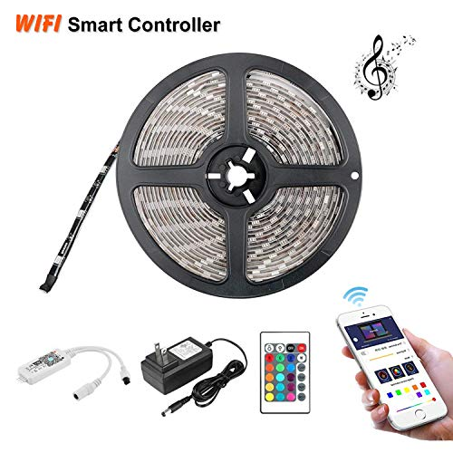 Eternal Home LED Strip Lights,Intelligent 16.4ft 300LEDs Waterproof LED Strip Lights 5050 RGB Flexible Color Changing Light Strip with 24 Key IR Remote Controller 3A UL Power Adapter (16.4FT 150LEDS)