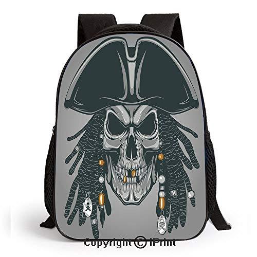 Lightweight Backpack-School Bag for Kid Girls Boys Cruel Evil Dead Man Skull Corsair with Rasta Hair and Iconic Hat Filibuster Travel College School Bags,Grey Black White