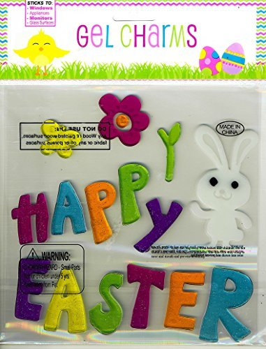 Nantucket Home Happy Easter and White Bunny Glitter Gel Window Clings