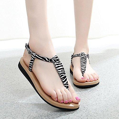 Mujeres Señoras Sandalias Zapatos atractivos planos del verano femenino Sandalias del estudiante Sandalias romanas Cómodo ( Color : 1001 , Tamaño : 36 ) 1003