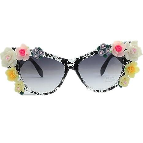 Lentes Planos espejados Gafas de Sol de la Flor de la señora ...