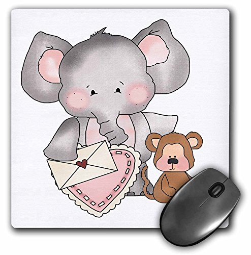 Price comparison product image 3dRose Elephant and Monkey Sweet Valentine Design - Mouse Pad, 8 by 8 inches (mp_102484_1)