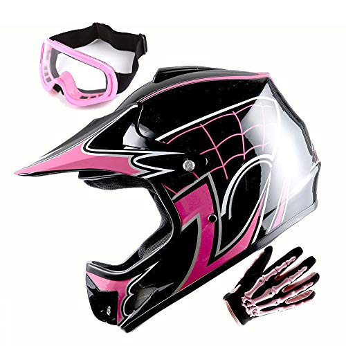 WOW Youth Motocross Helmet BMX MX ATV Dirt Bike Helmet Spider Pink + Goggles + Skeleton Pink Glove Bundle -