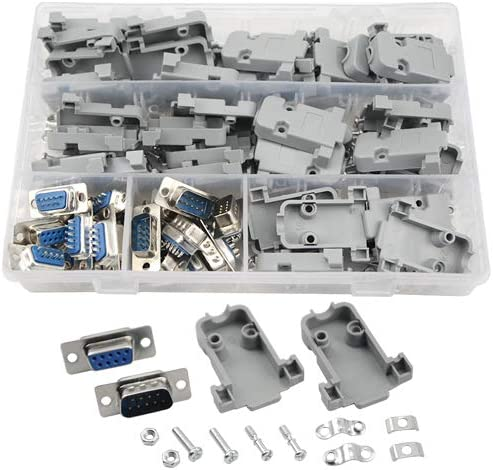 10Pcs DB9 Male Connector Kit Solder Type Plastic FREE SHIPPING Personal Computer