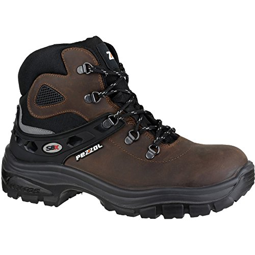 Pezzol Mens Samurai Leather S3 Work Safety Boot Brown Brown