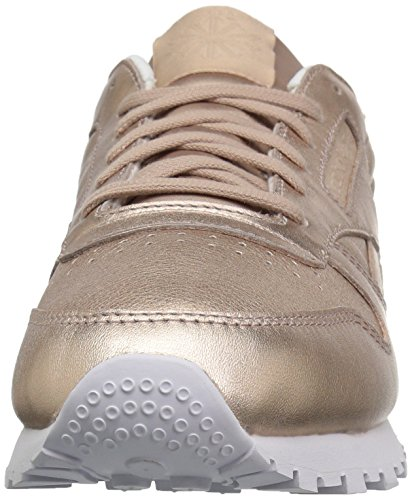 Metal Fashion Reebok Women's Melted Leather Peach Classics Pearl Metallic Sneakers White qqFCwI