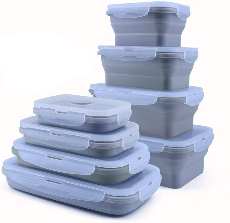 4 PCS Collapsible Silicone Food Containers Storage Lunch Bento Box with Lid BPA Free for Camping, Hiking (GRAY, 4PC(350ml+500ml+800ml+1200ml))
