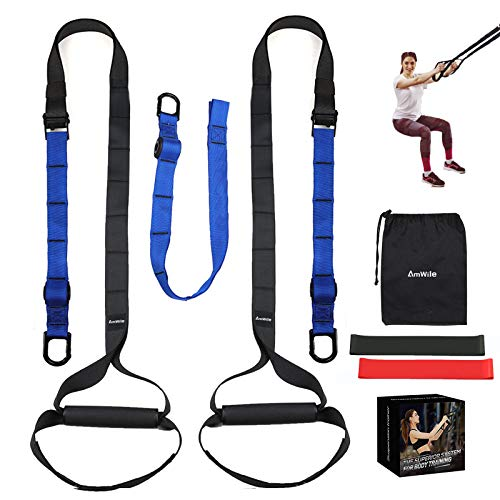 AmWile Suspension Trainer Kit,Professional System Training Kit Gym Fitness Training Straps for Home, Travel And Outdoors