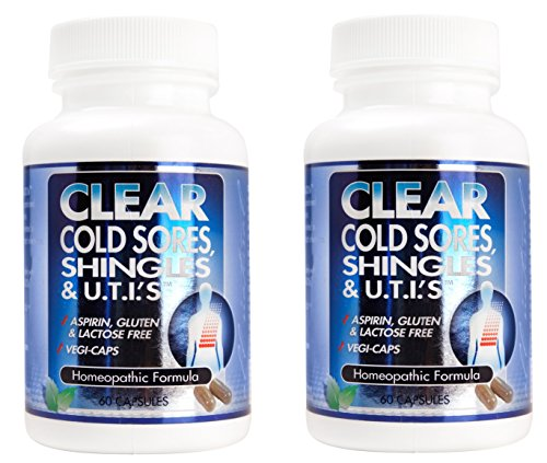 Clear Cold Sores, Shingles, U.T.Is Homeopathic Herbal Relief Formula 60 Capsules (120 Caps)