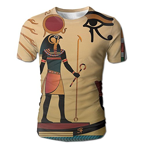JeanCo Men's Egyptian Illustration Of Ancient God Sun Ra Old Egyptian Faith Grace Icons Traditional Pagan Classic Tshirt White (Old Town Halloween Parade)