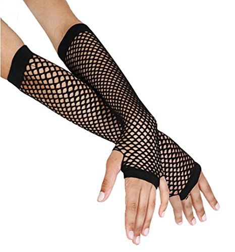 Black Fishnet Glove - 1980's Cindy Lauper Costume Accessory Long Fishnet Gloves - Black