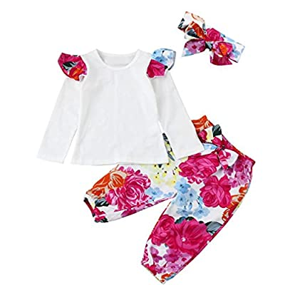 Floral Romper Baby Girl,WuyiMC Toddler Long Sleeve Floral Clothes Set Tops +Pants +Headband Outfits