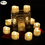 100 Hours Remote Control Led Flickering Tea Tight Warm Glow White Flicker Battery Operated Wavy Open Fake Candle Realistic Candlelit Electric Mini Tealights For Jar Table Decor Xmas 48 PCS Party Favor